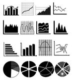 Business finance chart graph icons set. Business finance chart graph  icons set in black Royalty Free Stock Photos