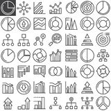 Business finance charts line icons set. Outline vector symbol collection, linear pictogram pack. Signs, logo illustration. Set includes icons as pie chart Royalty Free Stock Images
