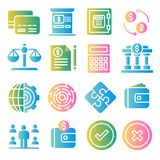Business and finance color icons set. Business and finance gradient color icons set Royalty Free Stock Photo