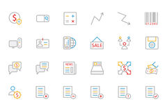 Business and Finance Colored Outline Icons 9 Royalty Free Stock Photography