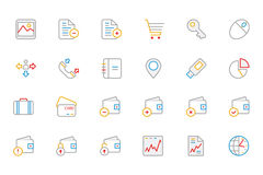 Business and Finance Colored Outline Icons 5 Royalty Free Stock Photo