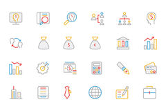 Business and Finance Colored Outline Icons 1 Royalty Free Stock Images