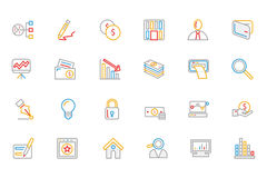 Business and Finance Colored Outline Icons 6. Need a little financial stability after all that Christmas gift giving? Make a design plan with your Colored Royalty Free Stock Photo