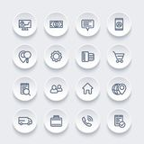 Business, finance, and commerce line vector icons. Eps 10 file, easy to edit Stock Photos