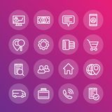 Business, finance, commerce, trade line icons Royalty Free Stock Images