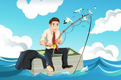 Business finance concept. A vector illustration of business finance concept with a businessman sitting on top of a stack of money fishing for money in the sea Stock Image