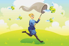 Business finance concept. A vector illustration of a business finance concept, a businesswoman running and catching flying dollars Stock Photo
