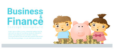 Business and Finance concept background with children saving money Stock Photography