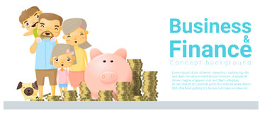 Business and Finance concept background with family saving money Royalty Free Stock Images