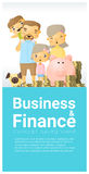 Business and Finance concept background with family saving money. Vector , illustration Stock Photo