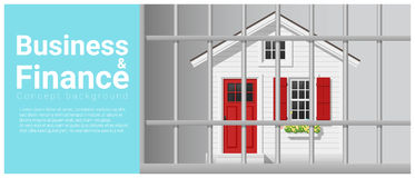 Business and Finance concept background with house in jail. Vector , illustration Stock Photo