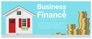 Business and Finance concept background with a little house. Vector , illustration Stock Images