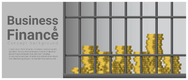 Business and Finance concept background with money in jail. Vector , illustration Royalty Free Stock Photos
