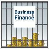 Business and Finance concept background with money in jail. Vector , illustration Royalty Free Stock Image