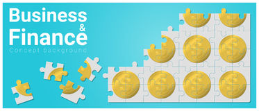Business and Finance concept background with money jigsaw puzzle. Vector , illustration Stock Photos