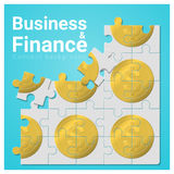 Business and Finance concept background with money jigsaw puzzle. Vector , illustration Stock Images
