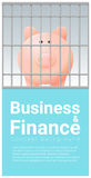 Business and Finance concept background with piggy bank in jail. Vector , illustration Stock Photography