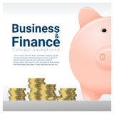 Business and Finance concept background with piggy bank Royalty Free Stock Image