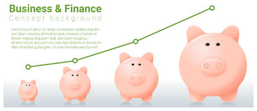 Business and Finance concept background with piggy bank. Vector , illustration Royalty Free Stock Photo