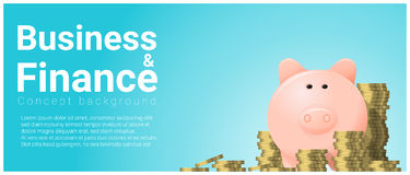 Business and Finance concept background with piggy bank. Vector , illustration Stock Photos