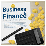 Business and Finance concept background with pile of coins and calculator. Vector , illustration Royalty Free Stock Image