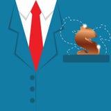 Business finance concept,business background,golden money on blu. E suit - vector illustration Royalty Free Stock Images