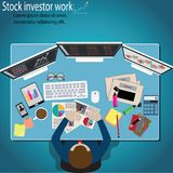 Business finance concept,Businessman looking stock investment. Business finance concept,Businessman looking stock investment monitor - vector illustration Royalty Free Stock Photos