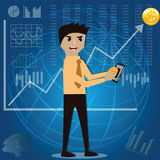 Business finance concept,Businessman make passive income from in. Vestment - vector illustration Stock Photo