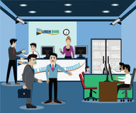 Business finance concept,businessman stay in bank - vector. Illustration Stock Photo