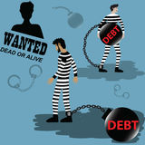 Business finance concept,businessmen are imprisoned with debt -. Vector illustration Stock Photo