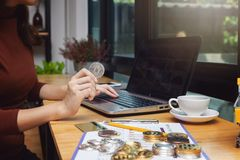 Business and finance concept, Businesswoman using bitcoin and credit card for E-Commerce online shopping.  stock photo