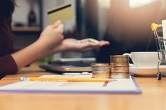 Business and finance concept, Businesswoman using bitcoin and credit card for E-Commerce online shopping.  stock images