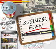 Business finance concept. The financial business plan on an office desk Royalty Free Stock Images
