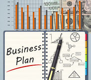 Business finance concept. The financial business plan on an office desk Royalty Free Stock Image