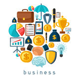 Business and finance concept from flat icons in. Shape Royalty Free Stock Image