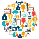 Business and finance concept from flat icons in. Shape Royalty Free Stock Images