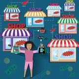 Business finance concept,Happy woman go to shopping, credit card. Vector Illustration Stock Photo