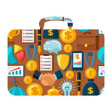 Business and finance concept from icons in shape. Of briefcase Royalty Free Stock Images