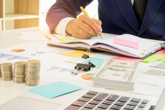 Business finance concept,Business people are analyzing the work stock image
