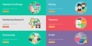 Business and Finance Conceptual Banner Design. Set of great banner flat design illustration concepts for business, finance, marketing and much more Royalty Free Stock Images