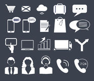 Business, finance and contact icons Royalty Free Stock Photo