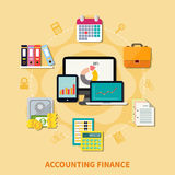 Business And Finance Design Concept. Collection of decorative icons for business and finance themes with set of modern gadgets and retro tools for accounting Stock Image