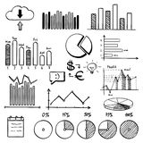 Business finance doodle hand drawn elements with. Alphabet. Concept - analytics work marketing strategy Stock Photos