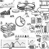 Business finance doodle hand drawn elements. Concept - graph, chart, pie, arrows signs Stock Photo
