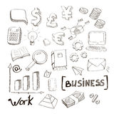 Business finance doodle hand drawn elements. Concept - graph and chart, pie, arrows signs, money, euro, yen Stock Image