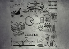 Business finance doodle hand drawn elements, Wall texture, background Royalty Free Stock Photos