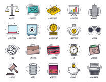 Business and Finance Doodle Icon Set. Business and finance icon set. Vector doodle illustrations Royalty Free Stock Photos