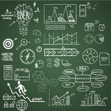 Business, finance elements and icons, doodle hand. Drawn Royalty Free Stock Image