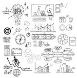 Business, finance elements and icons, doodle hand drawn sketch Royalty Free Stock Image