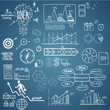 Business, finance elements and icons, doodle hand drawn sketch Royalty Free Stock Images